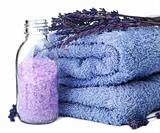 towel and lavender salt isolated