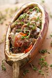 stuffed aubergine with meat and vegetables 