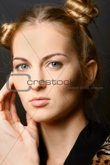 Close up portrait of the girl with green eyes