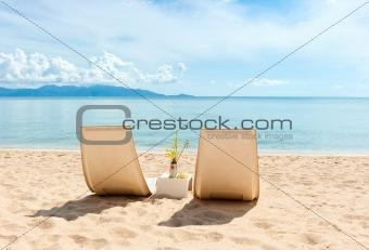 Chairs on beach near the sea