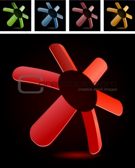 Abstract red floral symbol on black background