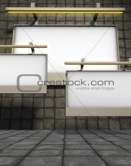 3d billboards on stone tiled background with tile pavement