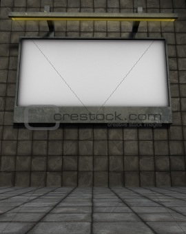 3d billboard on stone tiled background with tile pavement