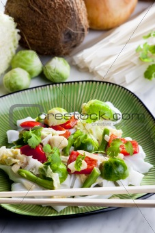 Asian vegetables on coconut milk