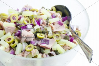 Mediterranean potato salad with tuna fish