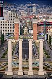 Four columns and Plaza de Espana, view from National Art Museum in Barcelona