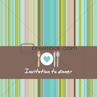 Dinner invitationcard with cutlery and stripes