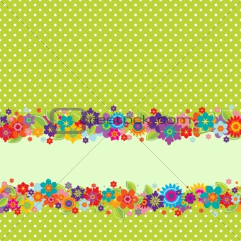 Greeting card with flowers and polkadot pattern