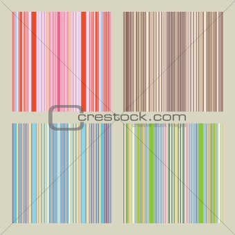 Four seamless patterns with retro stripes