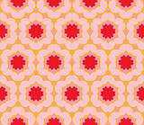 Seamless pattern with large bright colored flowers
