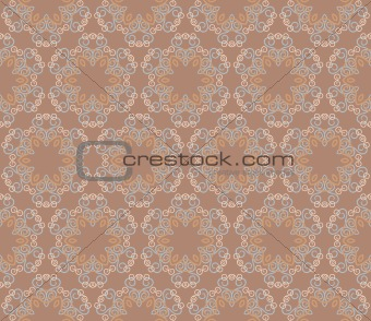 Seamless damask flowers on a brown background