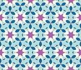 Seamless pattern with flowers in blue and purple