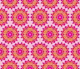 Seamless pattern with flowers in pink, red and orange