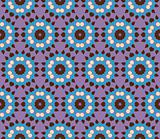 Seamless pattern with flowers in blue, brown and purple