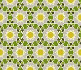 Seamless retro pattern with geometric shapes, lines and stars