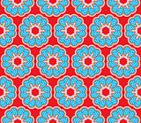 Seamless pattern with flowers with polkadots