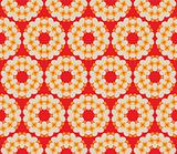 Retro style seamless pattern with flowers on a red background