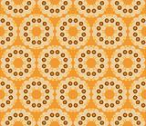 Retro style seamless pattern with flowers on a gold background