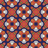 Floral pattern with dots on a dark blue background