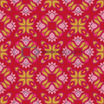 Floral pattern with dots on a bright red background