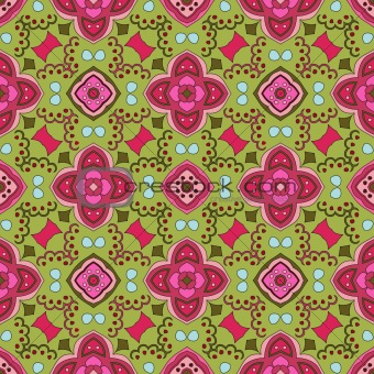 Floral pattern with dots on a green background