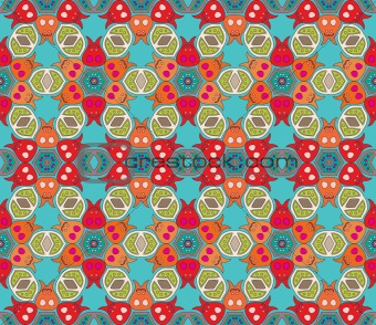 Floral pattern with dots on a blue green background