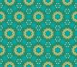 Baroque pattern with swirls on a green background