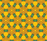 Floral pattern with leaves on a bright yellow background