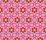 Colorful floral pattern in red, pink, purple and blue
