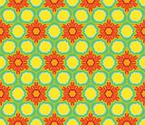 Colorful floral pattern in red, orange, green and yellow