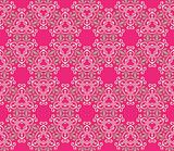Baroque pattern with swirls on a pink background