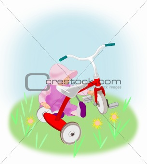 Toddler Girl with Tricycle.