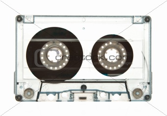 Transparent old audio cassette isolated on white