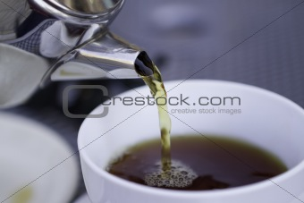 Pouring Hot Tea From Restaurant Style Cattle