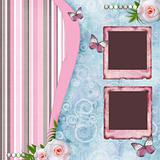 Beautyful album page in scrapbook style  with  paper frames for