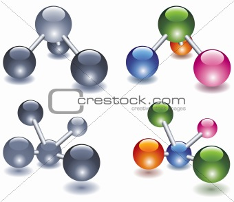abstract molecule icon design