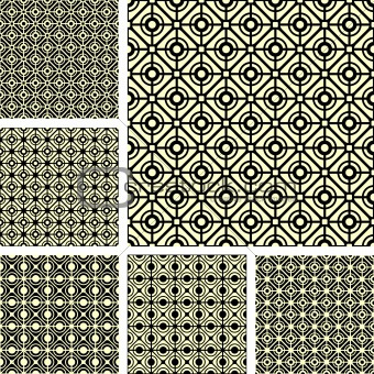 Seamless geometric lattice patterns set.