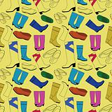 Seamless shoes yellow pattern