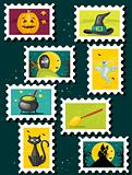 Halloween postal stamps