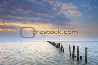 Beautiful evening sunset at sea