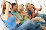 Friends Watching A Game On Television