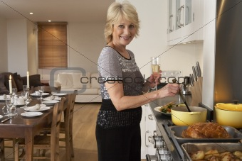 Woman Preparing Food For A Dinner Party