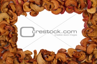Frame of dried slices apples