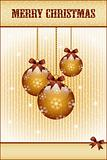 Gold christmas balls and bows