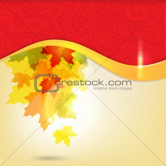 Autumn background with leaves and copy space for your text / eps