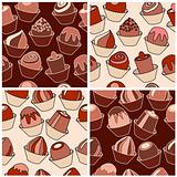 Set of seamless patterns with different chocolate sweets.