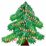 Christmas tree with garland isolated
