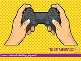 Illustration #0010 - Hands Holding Joystick