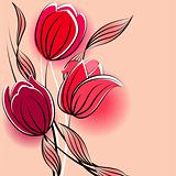 Pastel background with stylized tulips