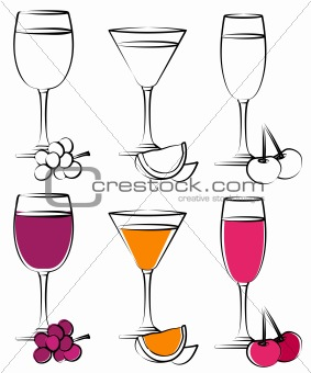 Set of cocktail glasses on white